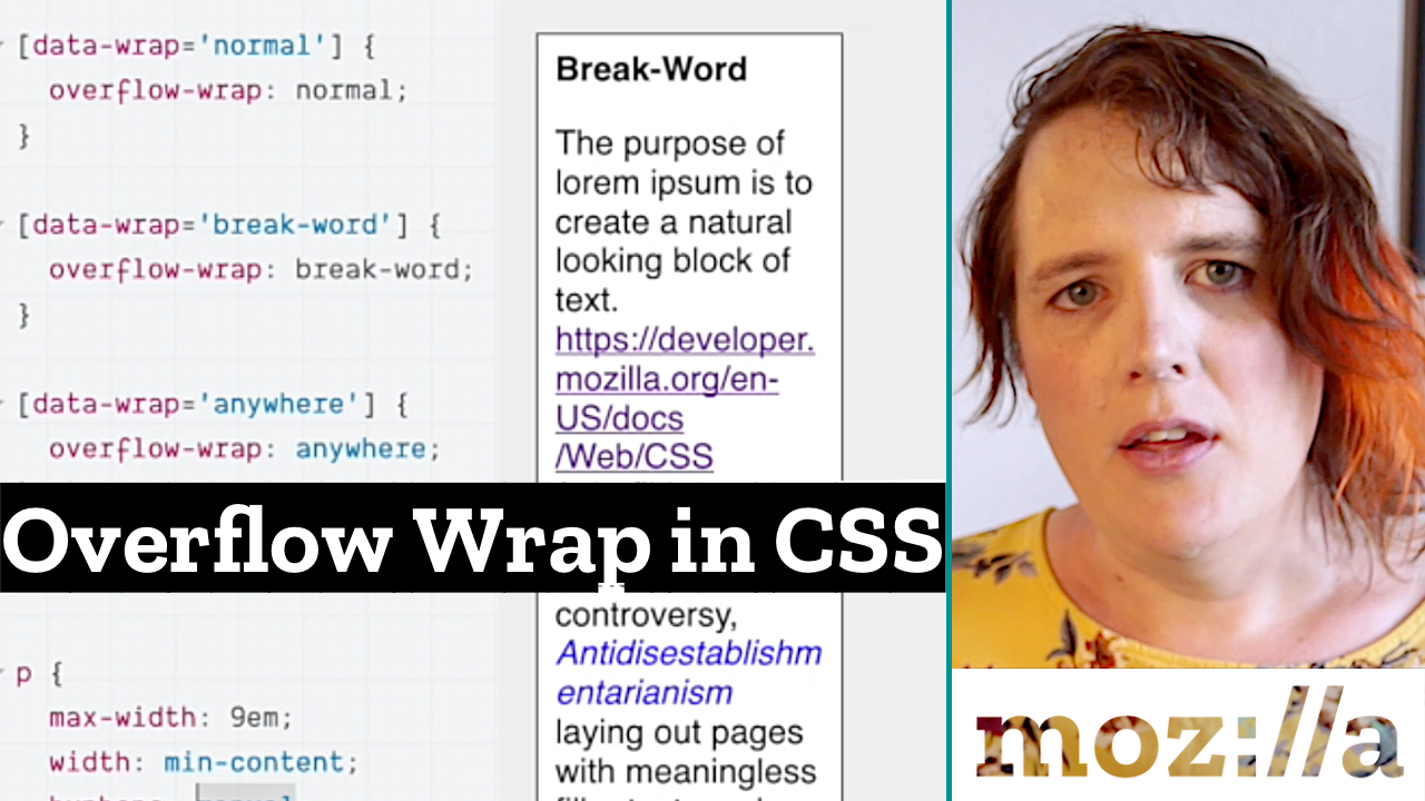 CSS code snippet with overflow wrap options