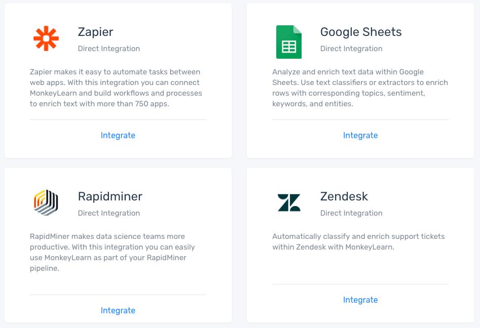 Classify new text via integrations