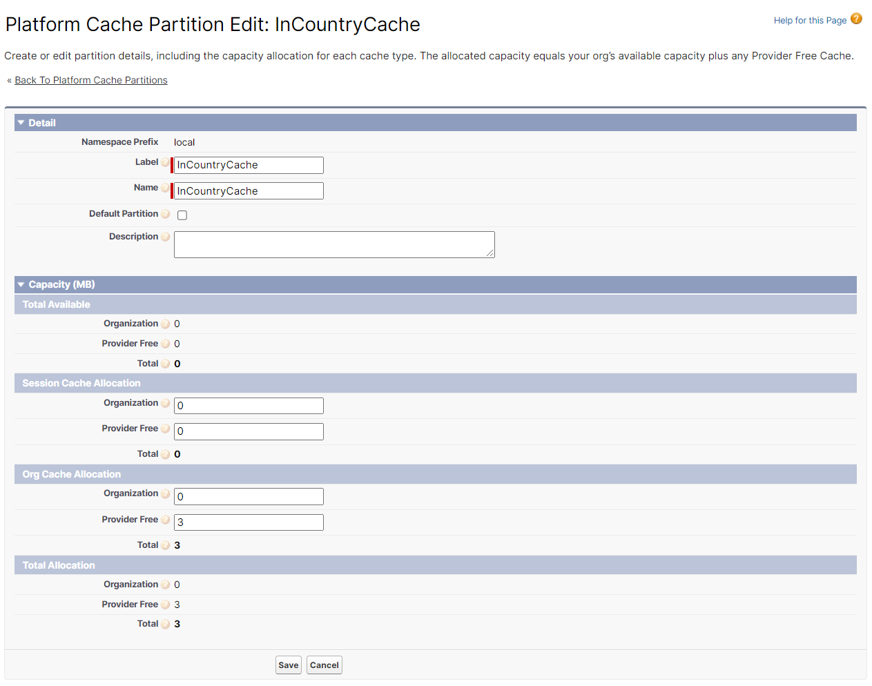 InCountry Cache size defined