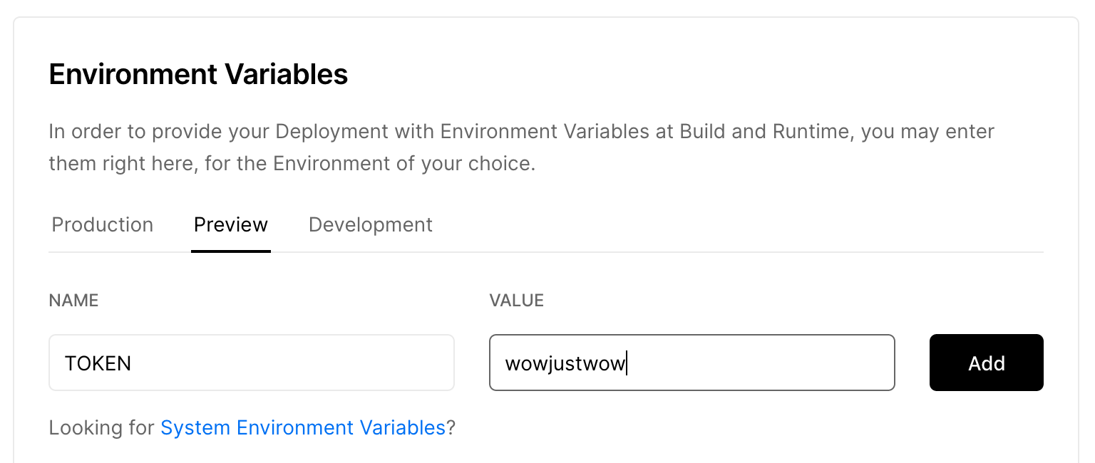 Environment variable in project settings