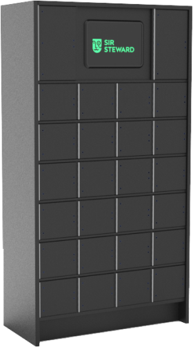 Sir Steward smart locker made in partnership with Mobilus for safe distribution of prescriptions in pharmacy