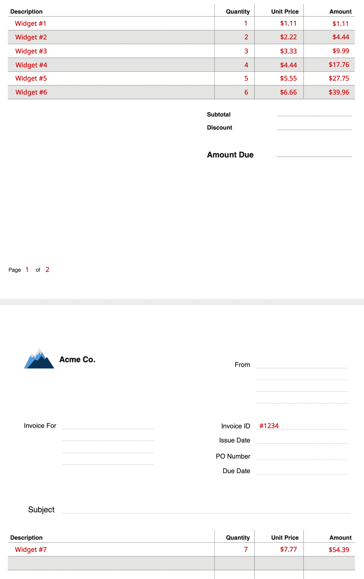 pdf invoice page repeating