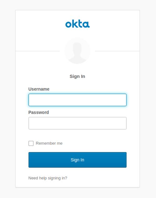 Okta login form