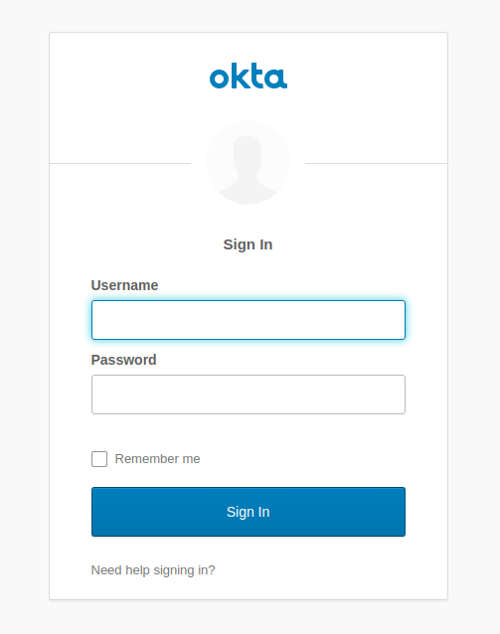 Okta sign in form