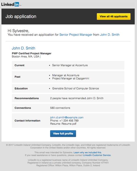 LinkedIn job application email sample