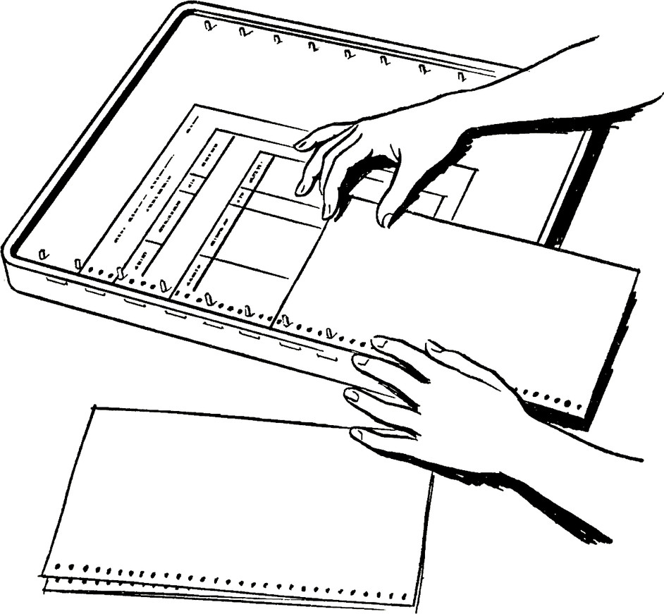 A person aligning forms with holes on the left side into  apeg board.