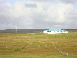 Fetlar Community Hall and wind turbine