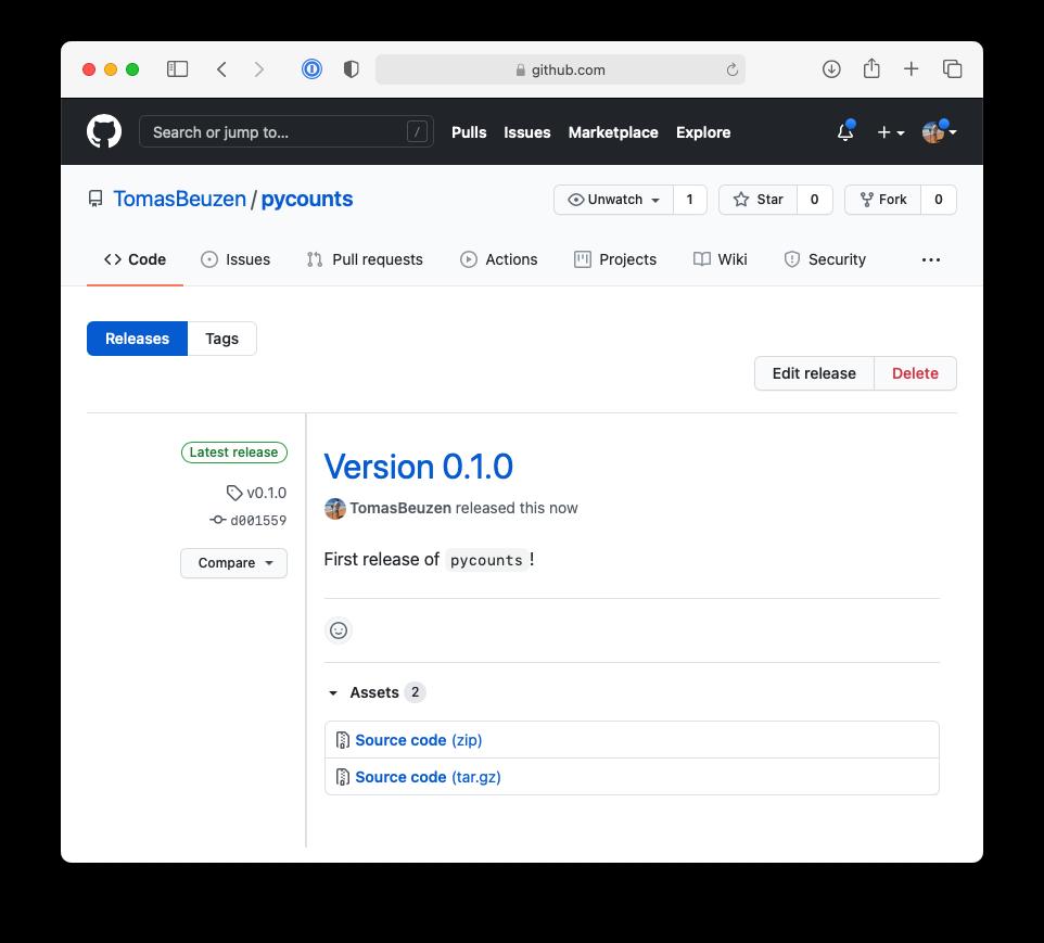 Release of v0.1.0 of `pycounts` on GitHub.