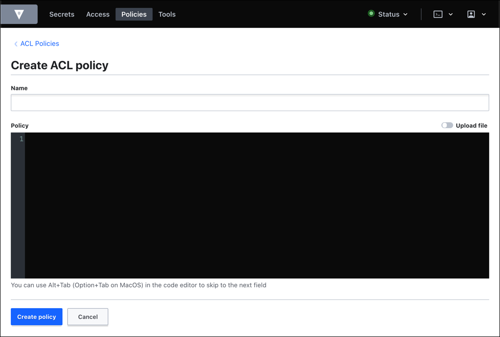 create policy view