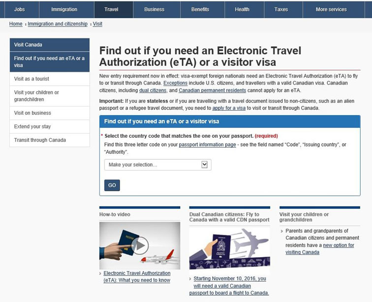 Image showing what 'Find out if you need an Electronic Travel Authorization (eTA) or a visitor visa' looked like before optimization.