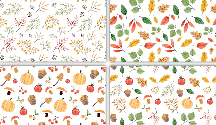 seamless autumn patterns, the elements are hand painted watercolor item thumbnail