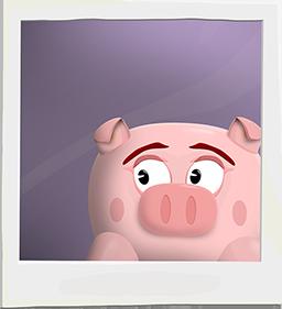 Animated pig giving side-eye