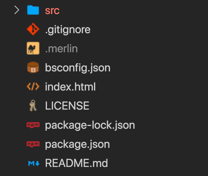 screenshot showing Reason project directory