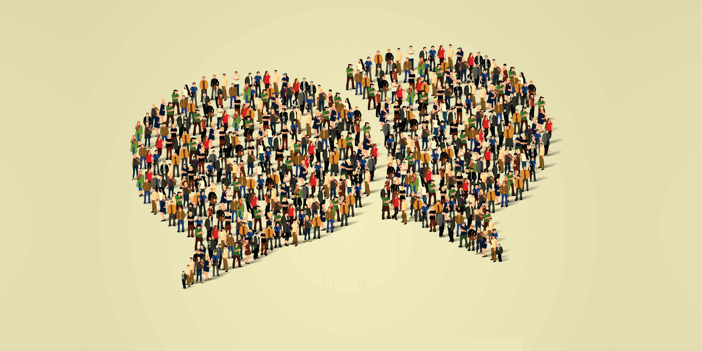 Two overlapping speech bubbles, each one comprised of dozens of people standing together in a large group.