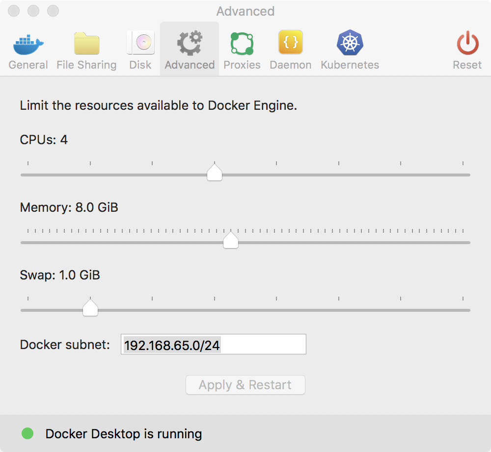 Setting 8Gb of memory in Docker for Mac
