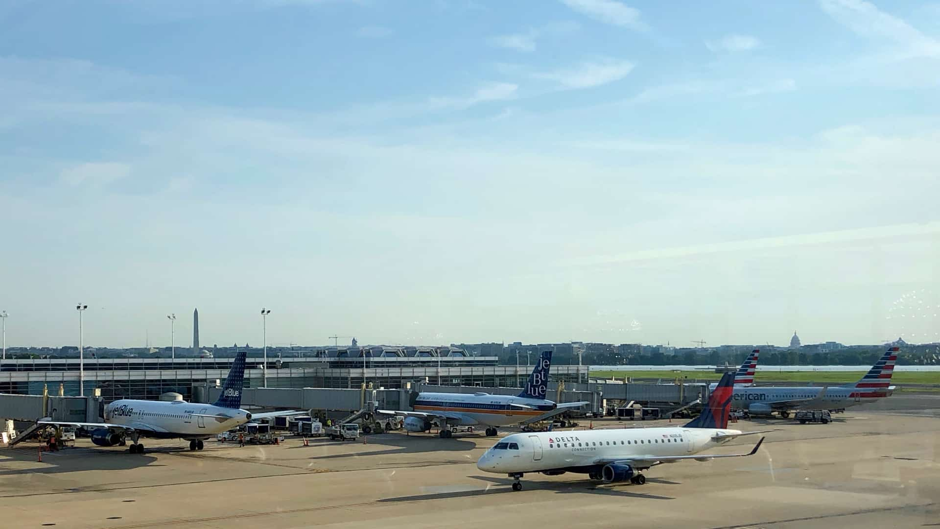 Washington DC skyline as seen from Reagan National Airport (DCA)