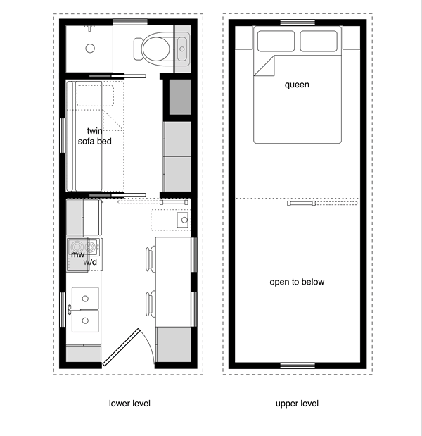 Tiny House Design's two bedroom house with a large queen size bed upstairs (and two bedside cabinets) along with a twin pull out couch downstairs to have a combined living and bedroom area.