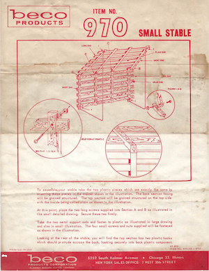 Beco Products Small Stable #970 Instruction Manual (1963-09).pdf preview