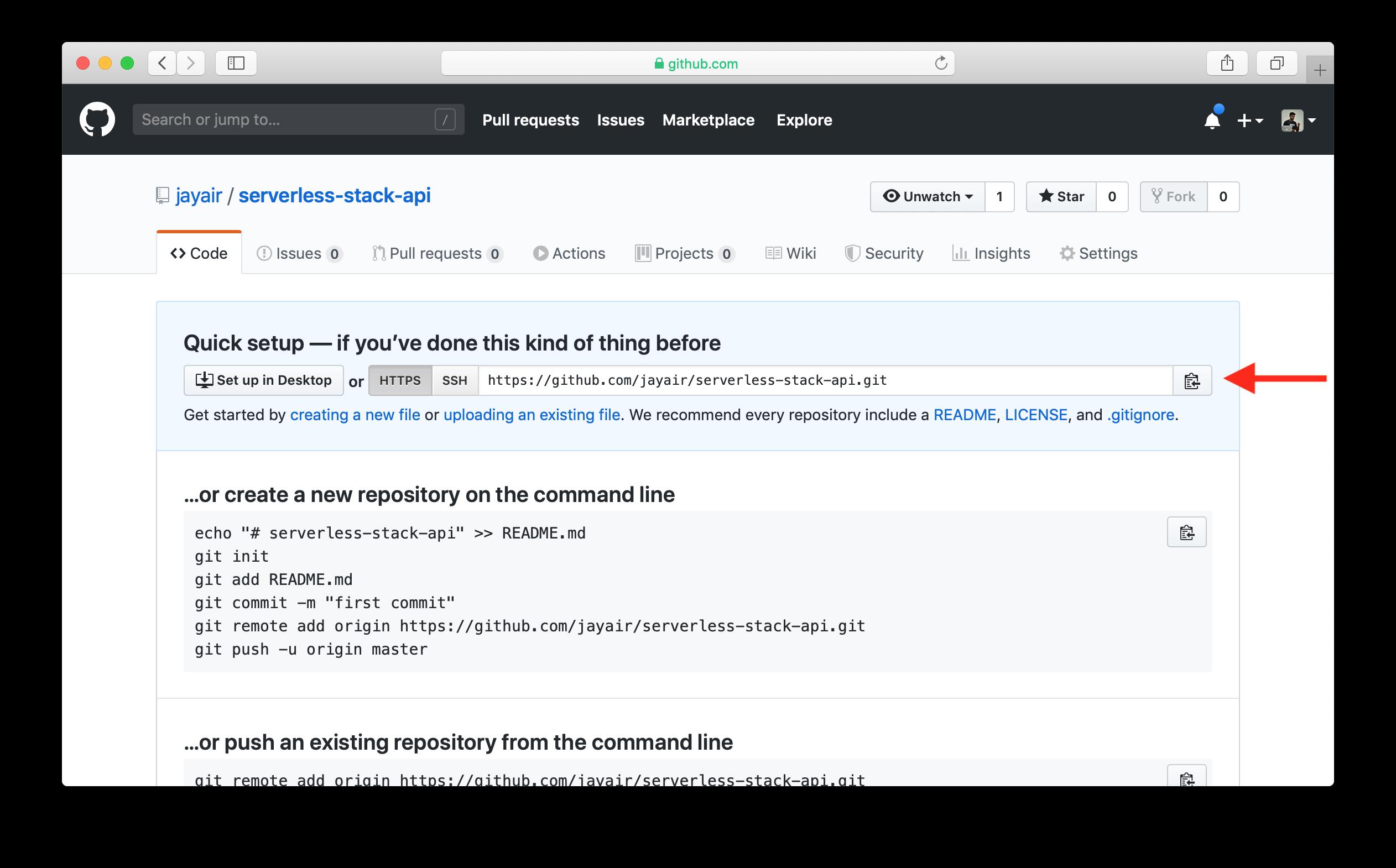 Copy new GitHub repo url screenshot
