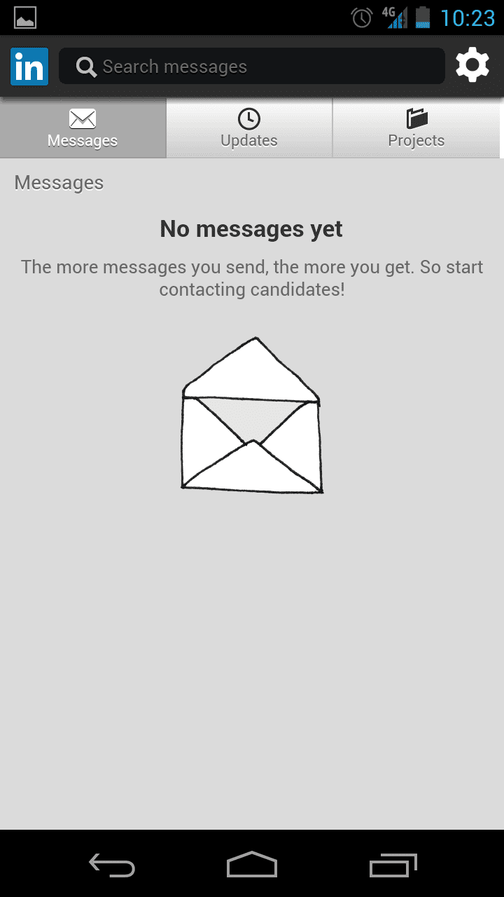 Screenshot of No messages yet in LinkedIn for Android