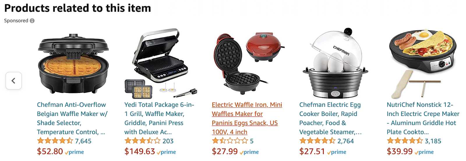 Related products to the selected items are waffle makers, egg-boiler, and crepe makers.
