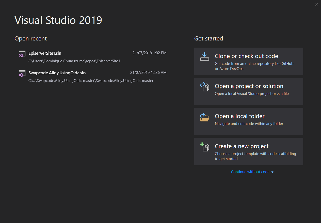 Visual Studio get started