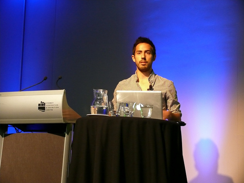 Max Wheeler on stage at WDX