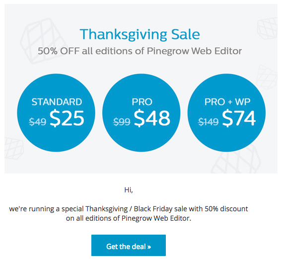 Pinegrow's pre Black Friday email campaign