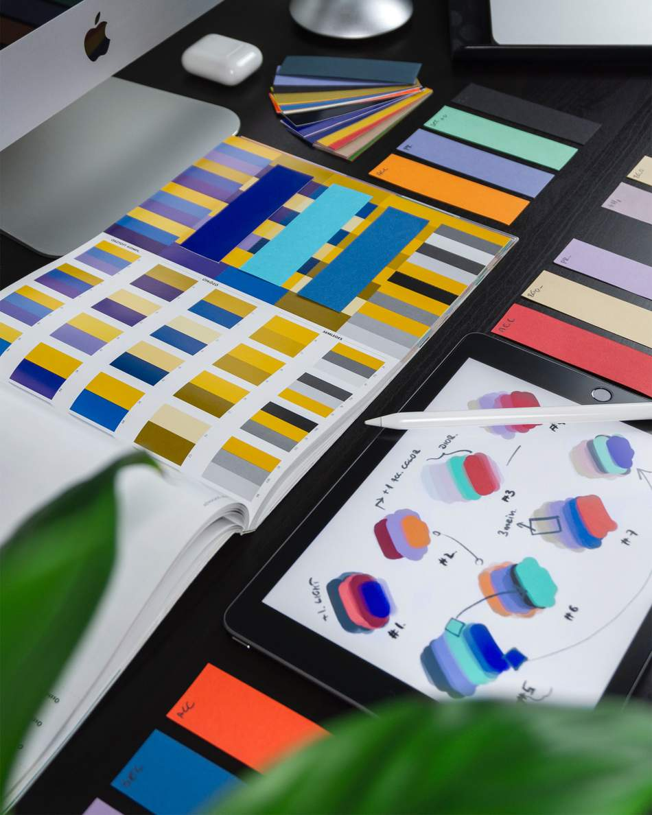 An image depicting the design and selection of a colour palate to help with website design