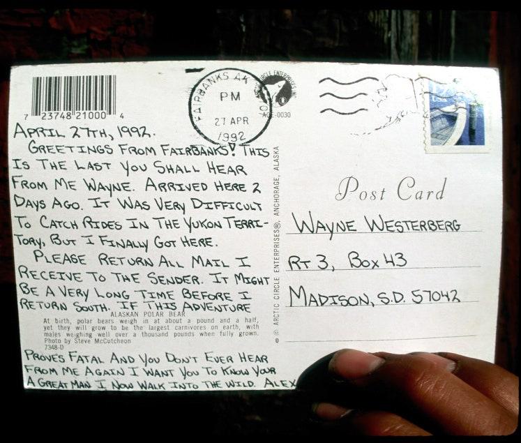 Um cartão postal escrito pelo McCandless para Wayne Westerberg