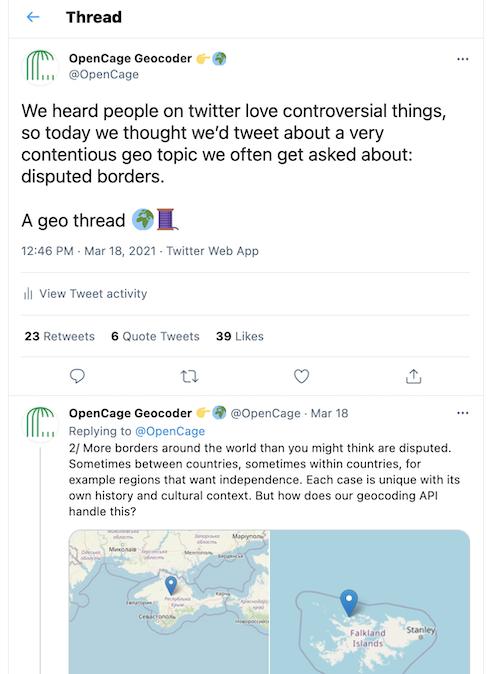 Screenshot of an @OpenCage geo Twitter thread