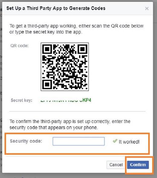 Facebook: Set up a third-party app to generate auth-codes