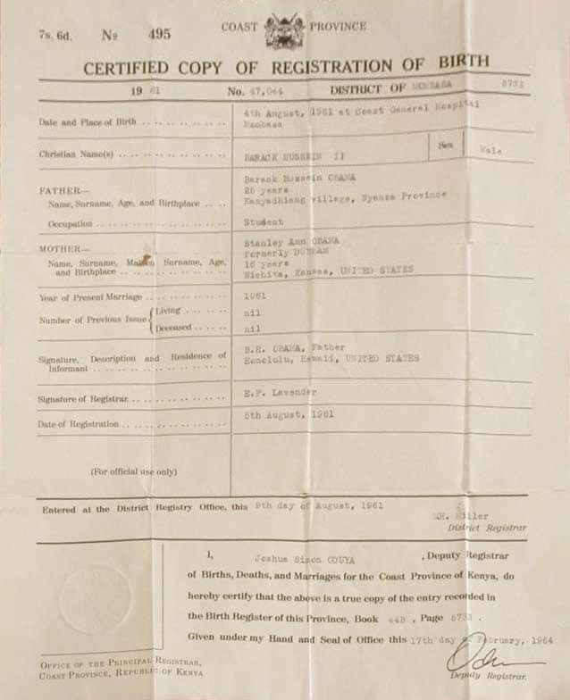 original birth certificate from Kenya, HI (the 60th state)