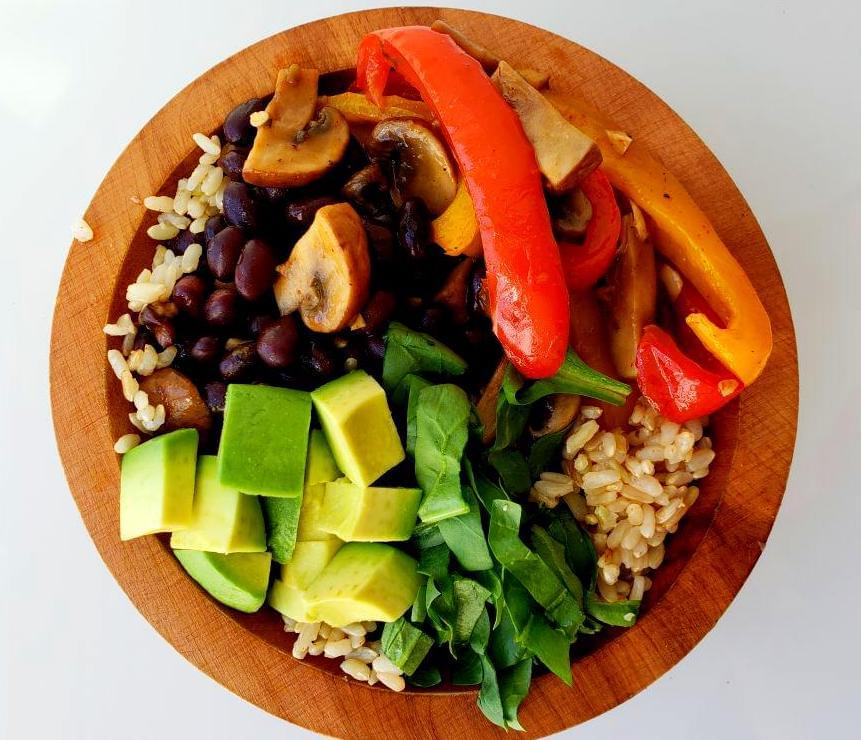 Fajita bowl with vegetables, black beans, and rice