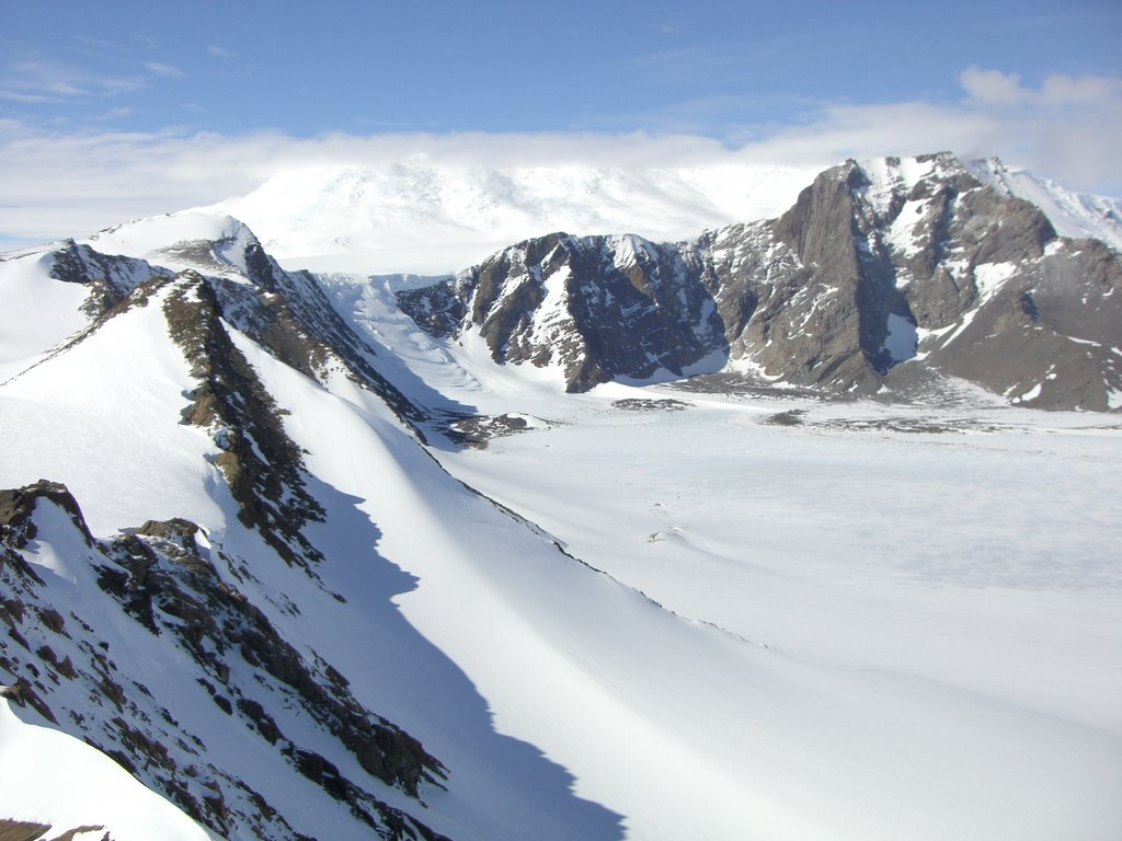 Photo taken from one of the peaks in the left side of the video (on a nice day). The camp was on the moraine to the left of the icefall in the back of the valley.