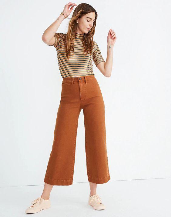 Pantalon large porté court