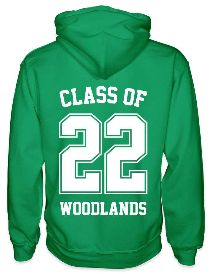 leavers hoodies solid 22 background design with class of printed across shoulders, solid 22, school name printed at the bottom