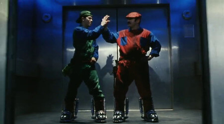 A shot from the Super Mario Bros. movie, showing the jump suit costumes that both Mario and Luigi wear