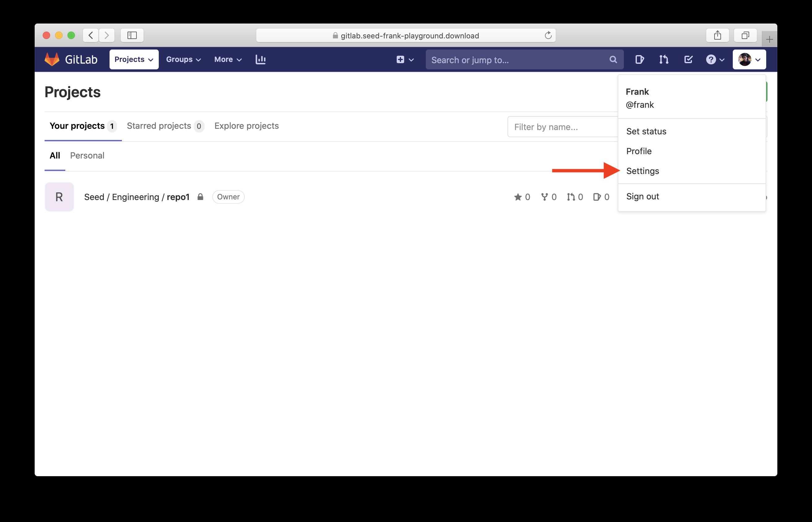 Click GitLab Self-Managed settings