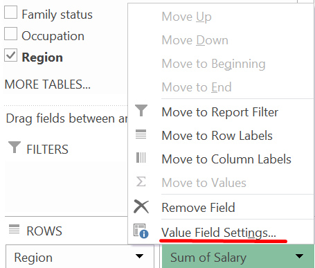 A screen grab from MS Excel showing the layout options menu for a pivot table