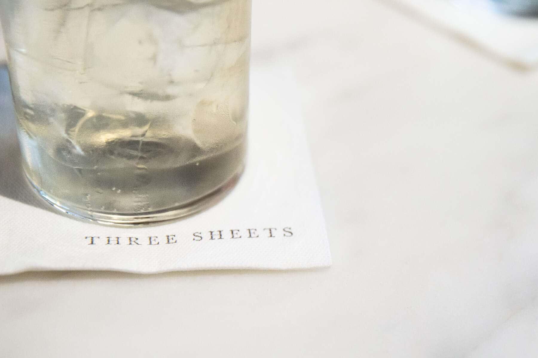 glass on a napkin at Three sheets bar