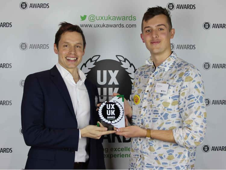 Myself and CTO of SkillsForge, Jonathan Carr, holding our UXUK Award for Best Effect on Business Goals.