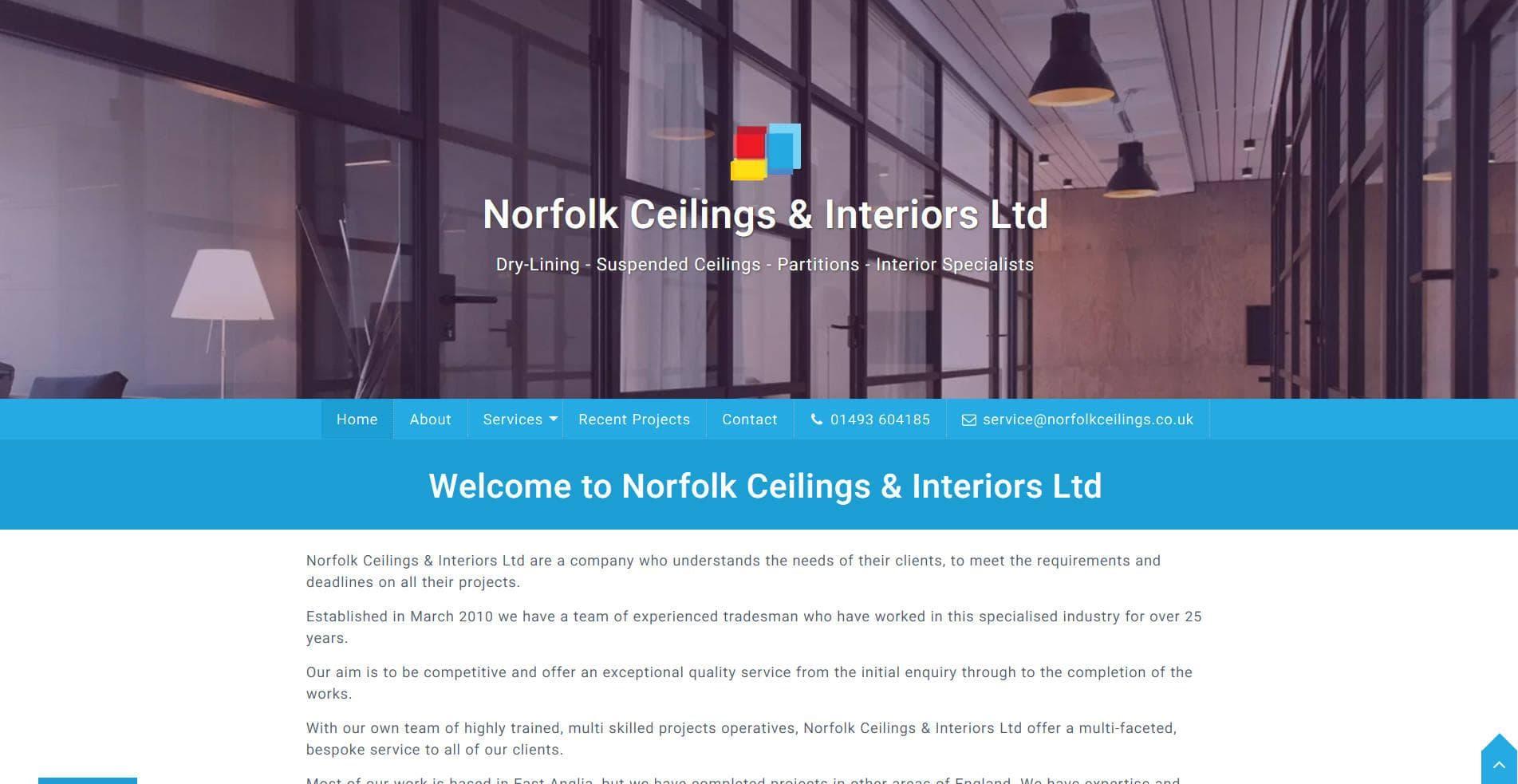 Norfolk Ceilings & Interiors Ltd website frontpage
