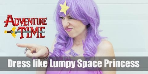 Lumpy Space Princess' signature outfit is that of a floating purple cloud or cotton candy with a big yellow star on her forehead that glows when she floats.