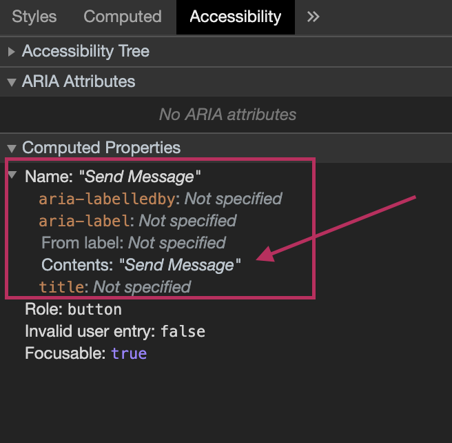 The accessible button name as shown in the accessibility chrome devtools tab
