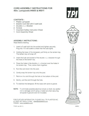 TPI Plastics Lamppost #4805, 4811 Instruction Manual.pdf preview
