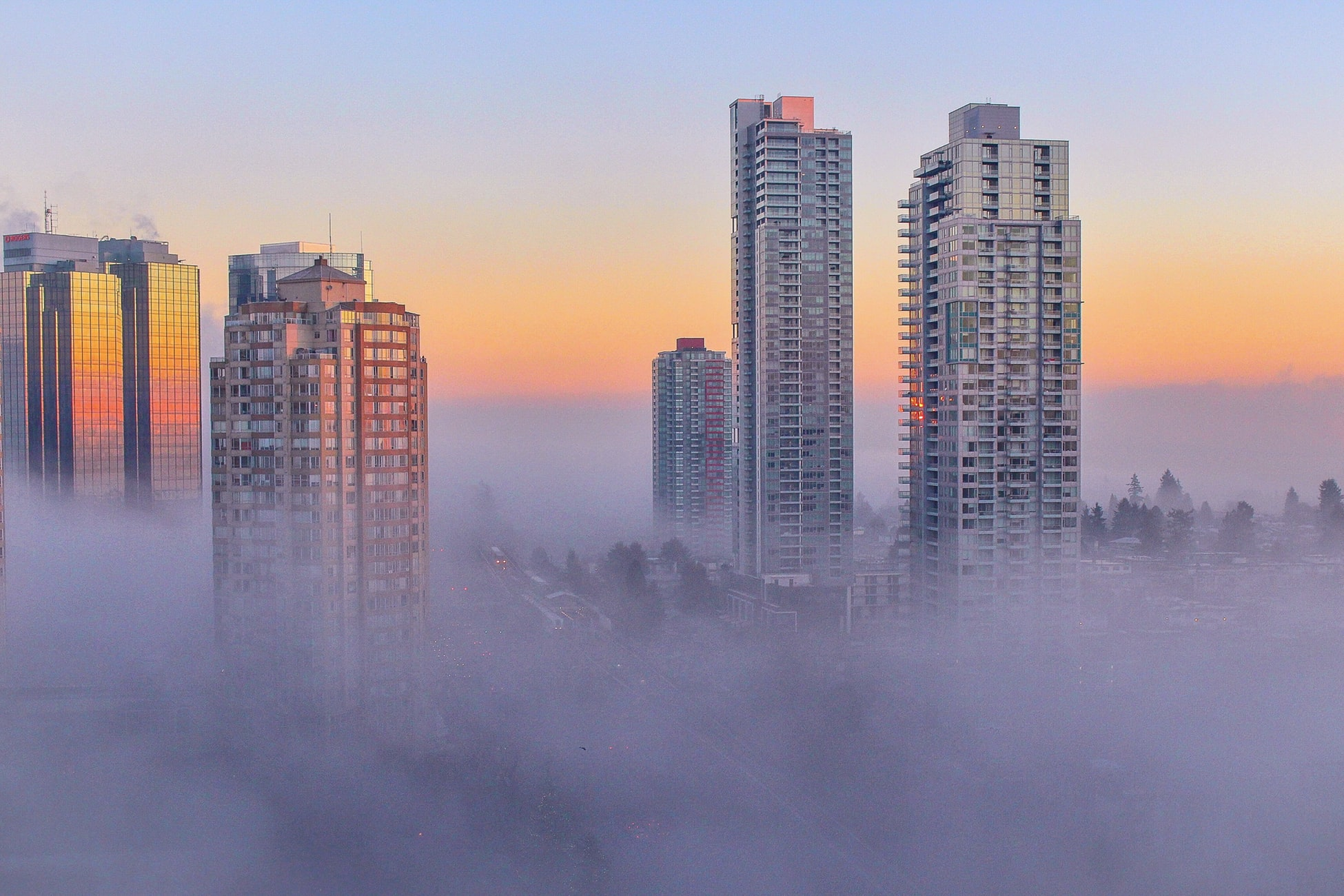 Skyscrapers reach above the fog in a Canadian city