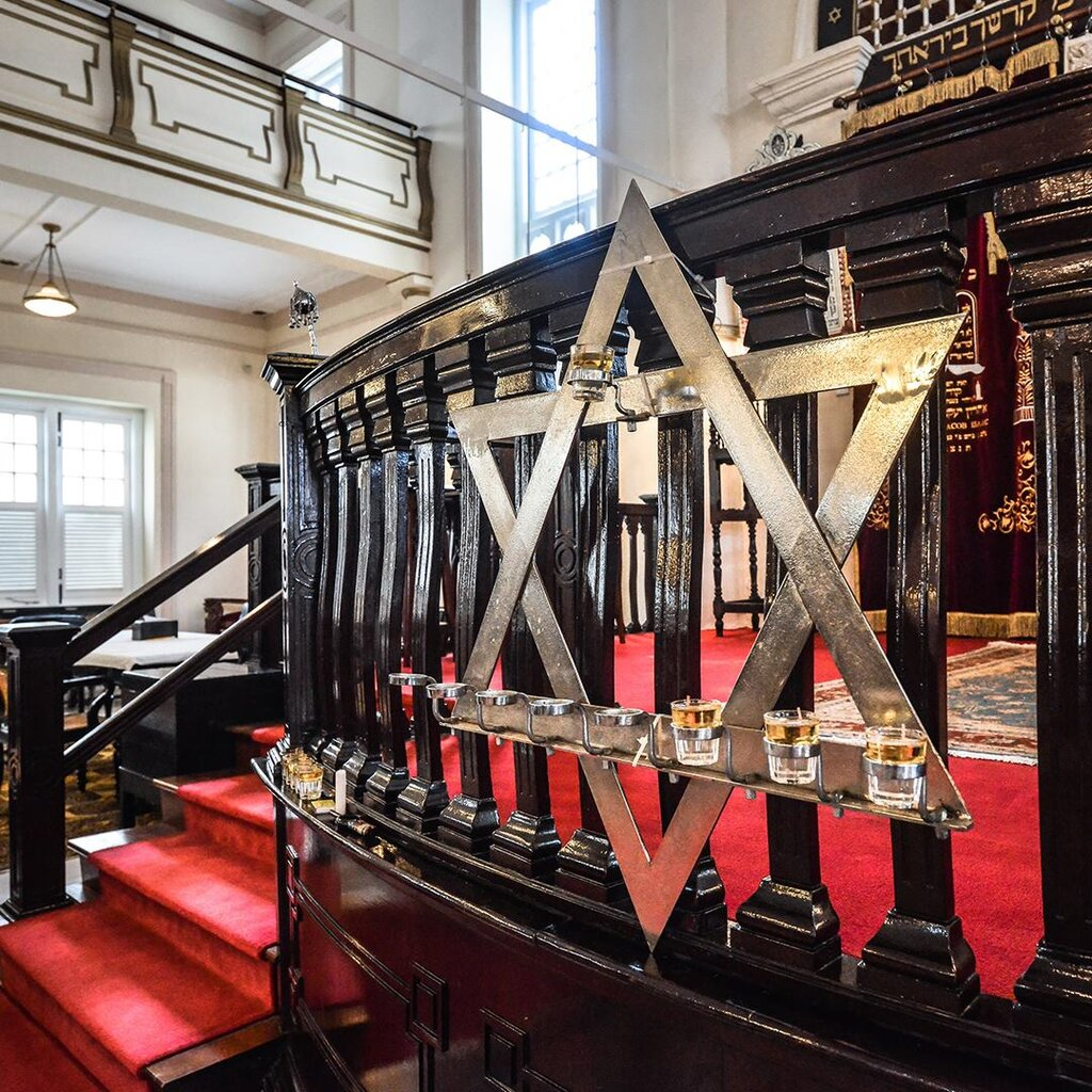 Menorah at Maghain Aboth, the oldest Jewish synagogue in Southeast Asia