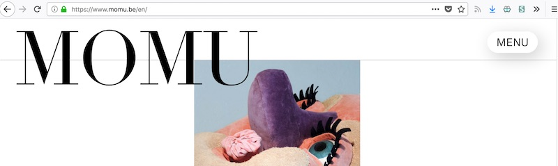 Top of the MoMu website with a 'Menu' button in the top right hand corner