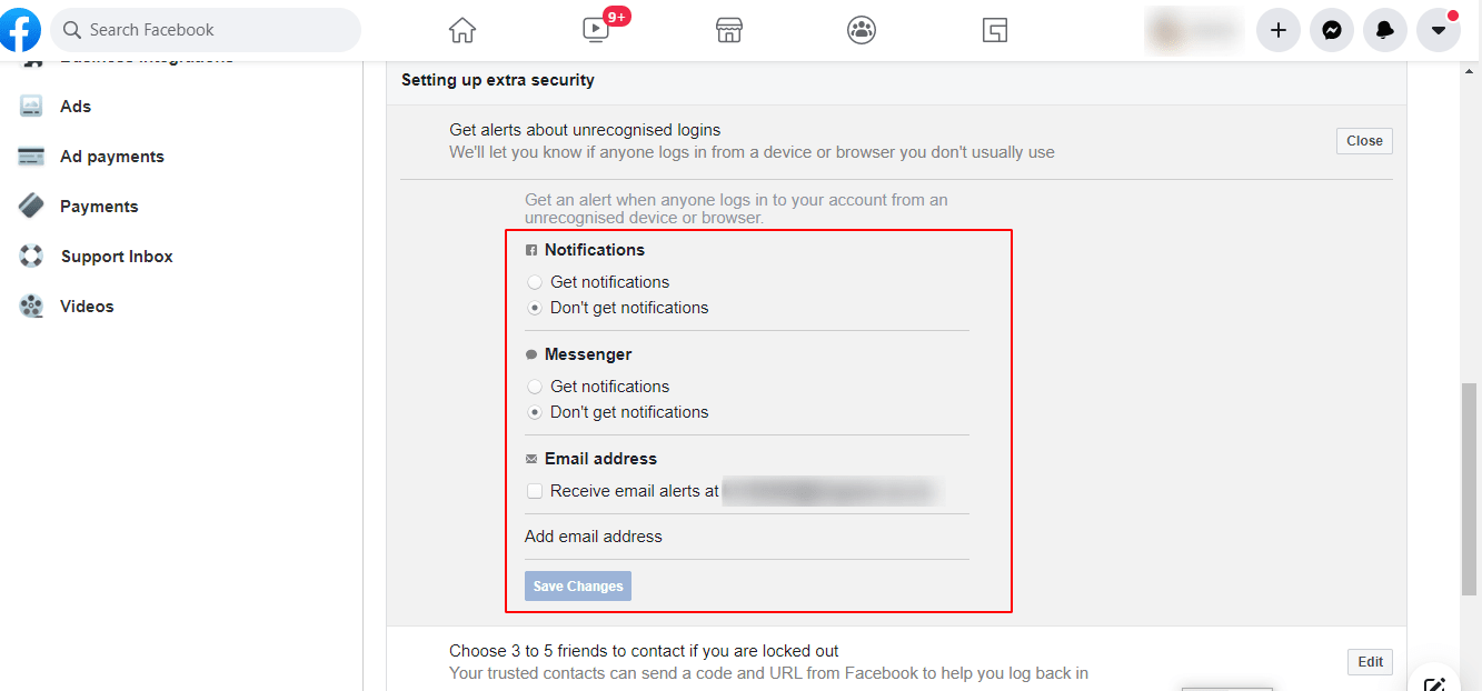 Blocked on Facebook: Settings to protect your account from undesired logins.